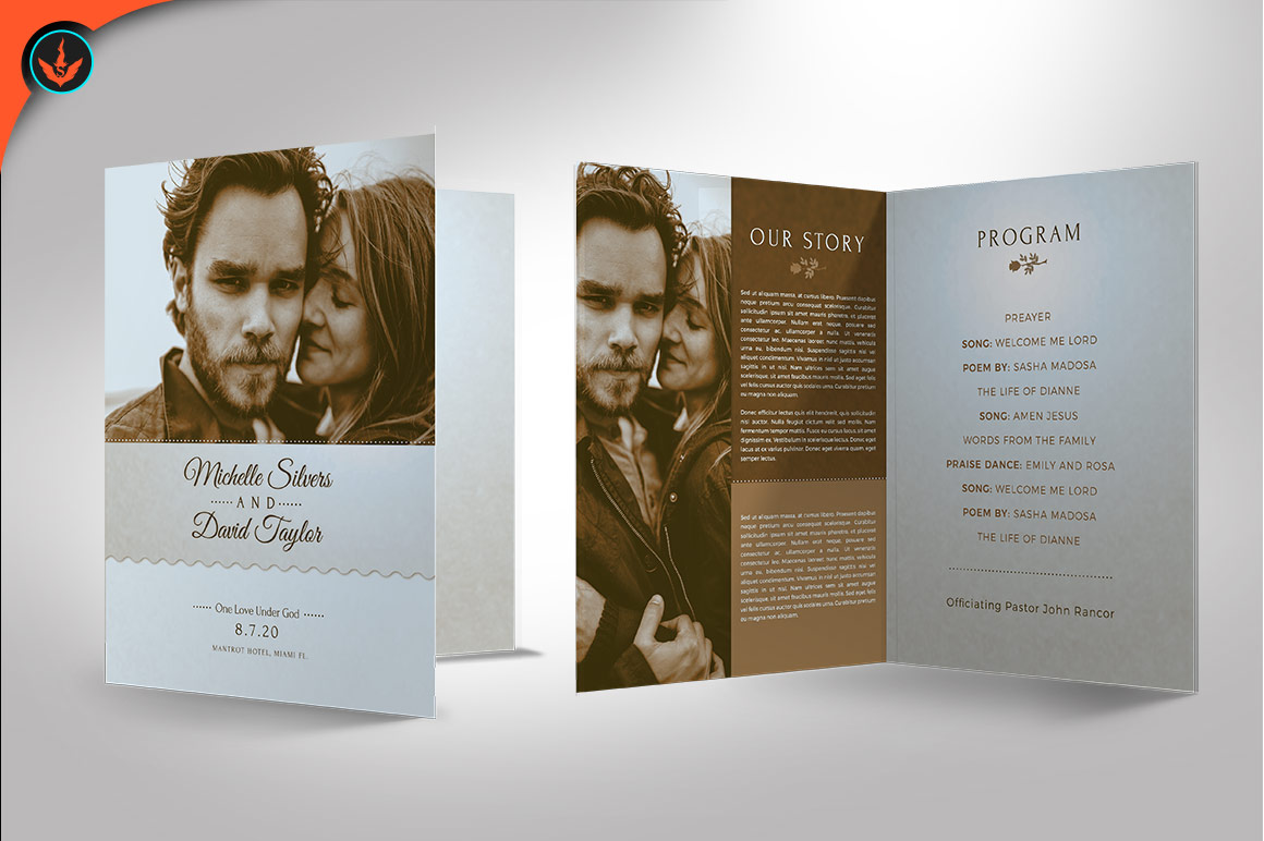 Retro Wedding Program Photoshop Template example image 3