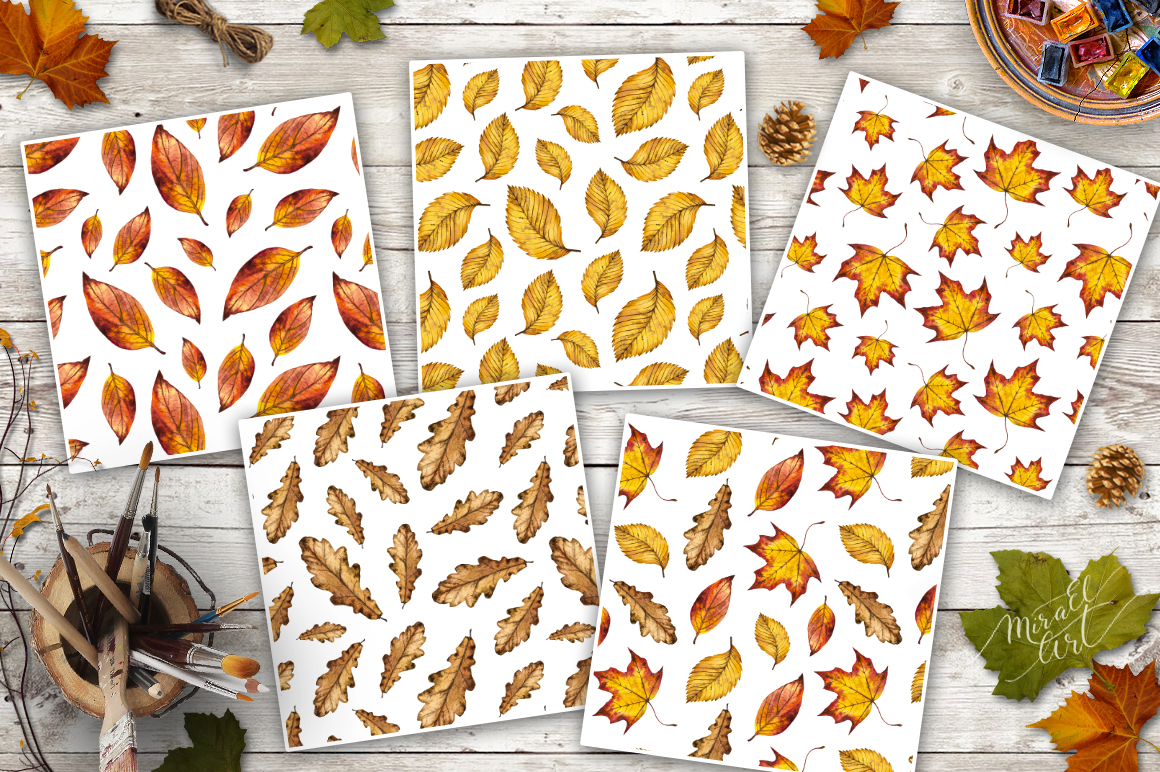 Watercolor autumn leaves example image 4