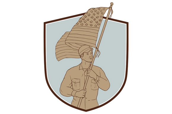 American Soldier Waving Usa Flag Crest Drawing