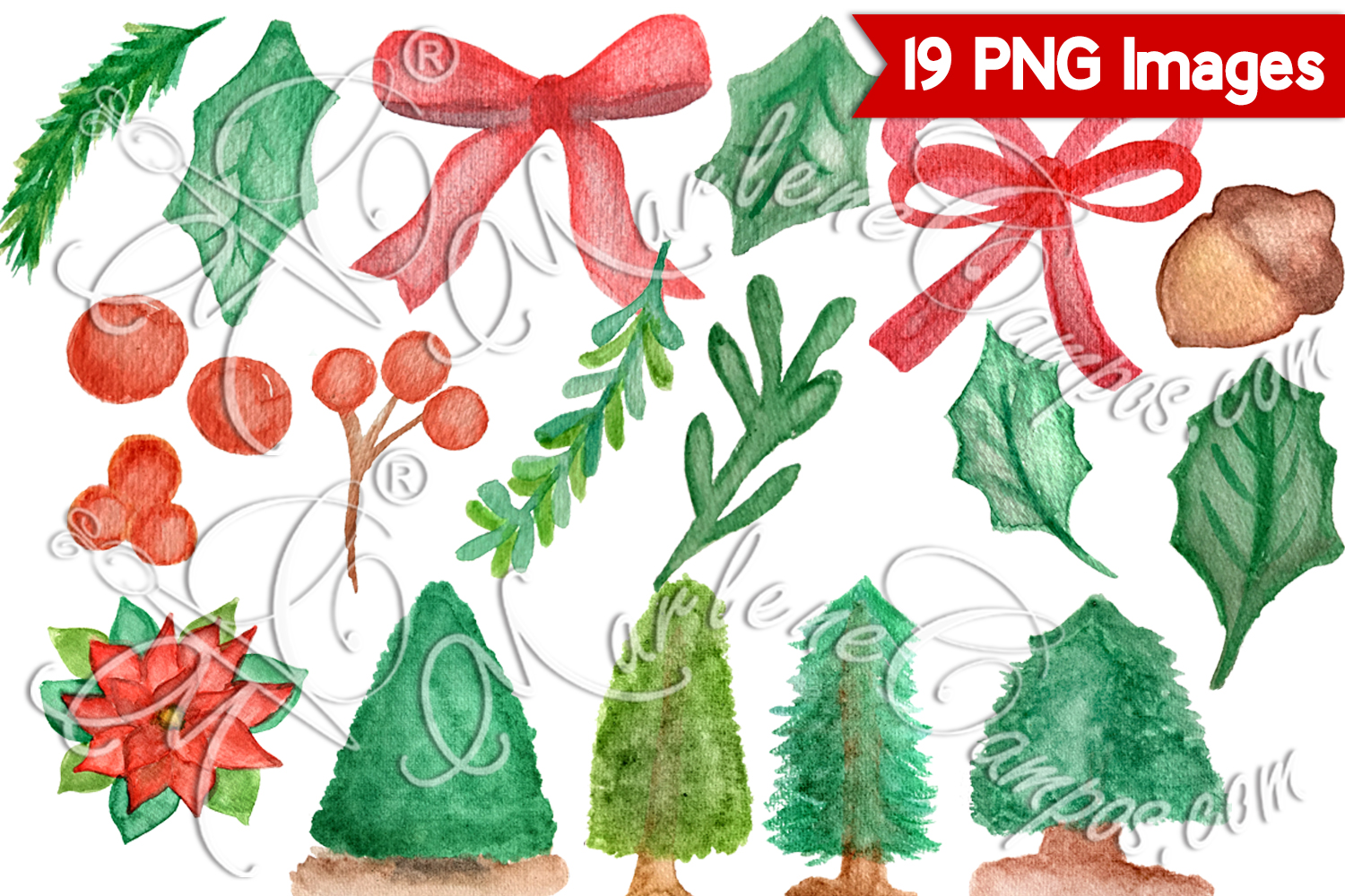 Watercolor Christmas Clipart, Holly Jolly Christmas Clip Art example image 2