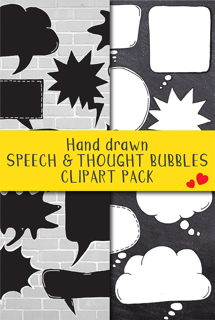24 Hand Drawn Black and White Speech Bubbles Doodle Clipart example image 6