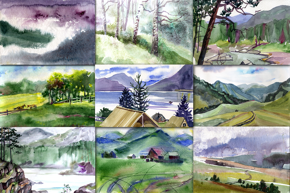 Watercolor Mountain Landscapes example image 2