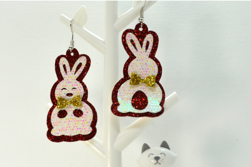 Rabbit earrings template SVG, DIY earrings template example image 3