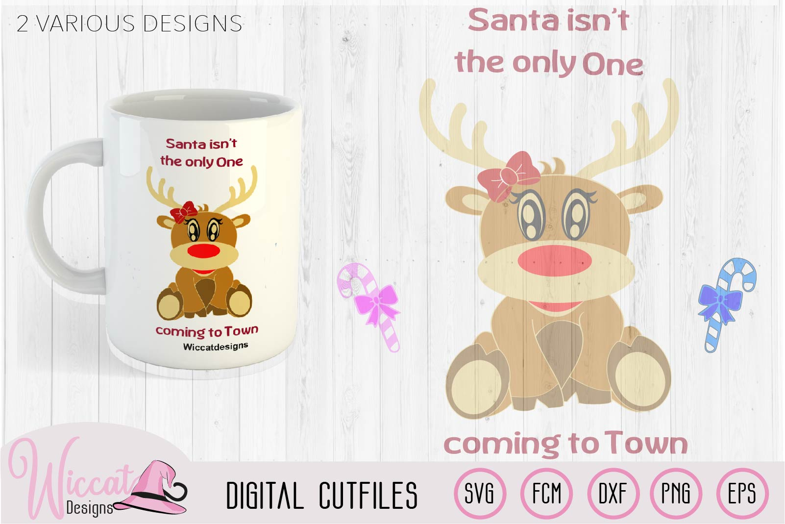 Baby girl reindeer, christmas cut files example image 1