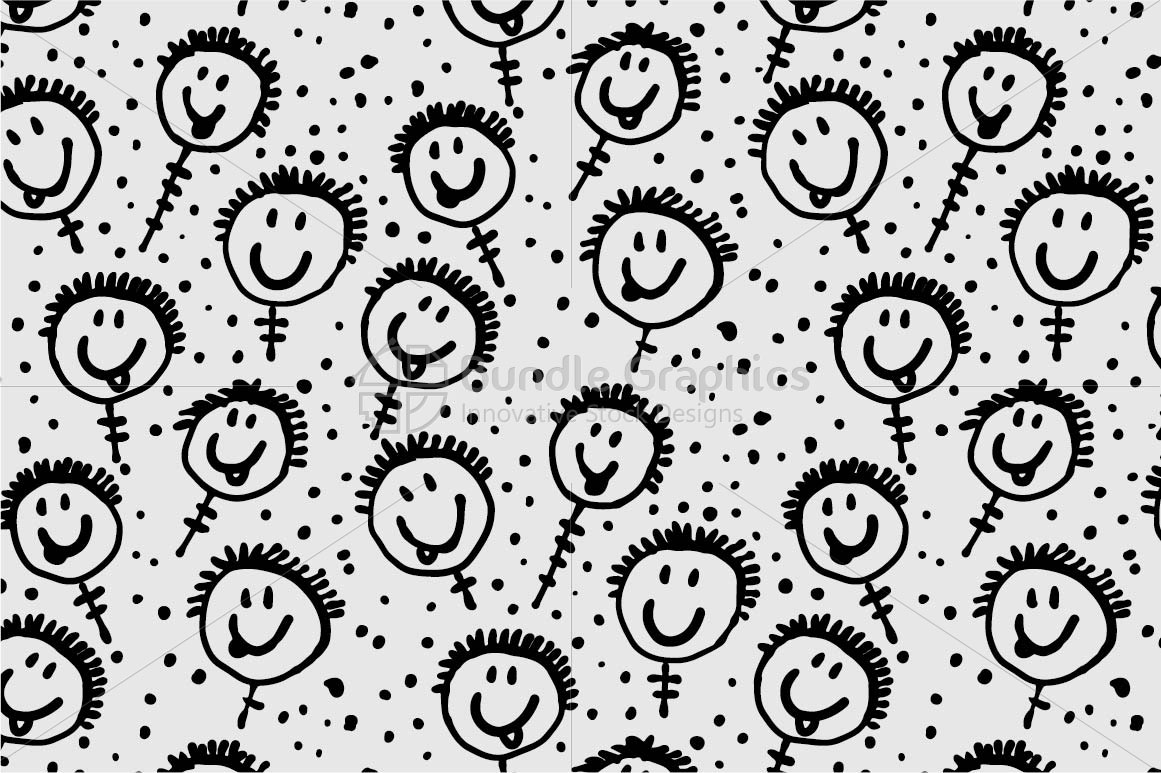 Funny Faces Seamless Pattern example image 2