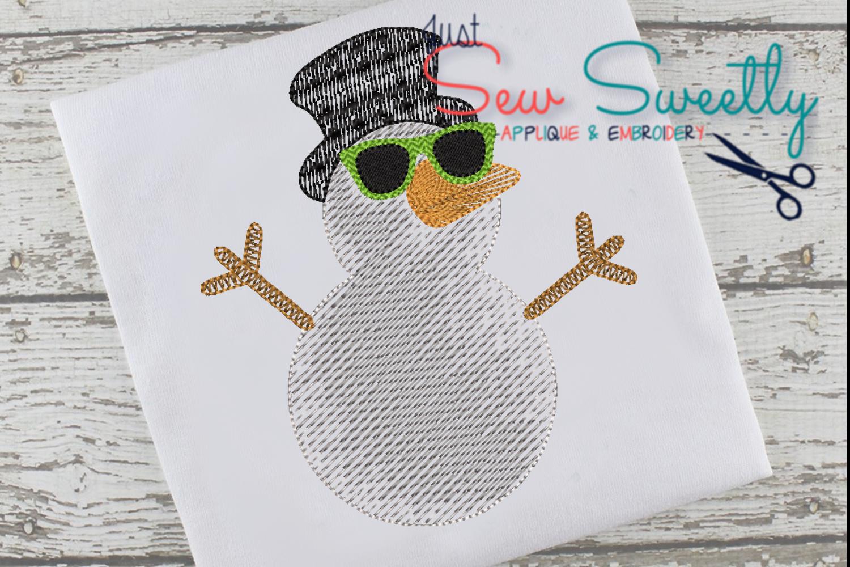Christmas Snowman Boy Applique Embroidery Design example image 1