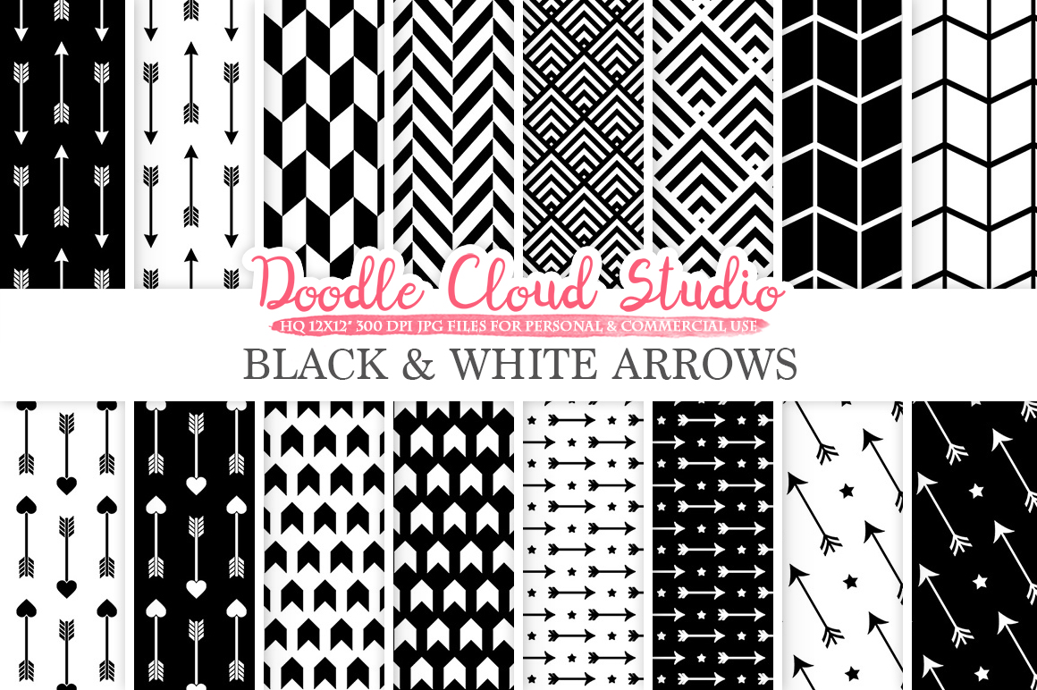 Black and White Arrows digital paper, Arrow patterns, tribal, archery, chevron triangles backgrounds for Personal & Commercial Use example image 1