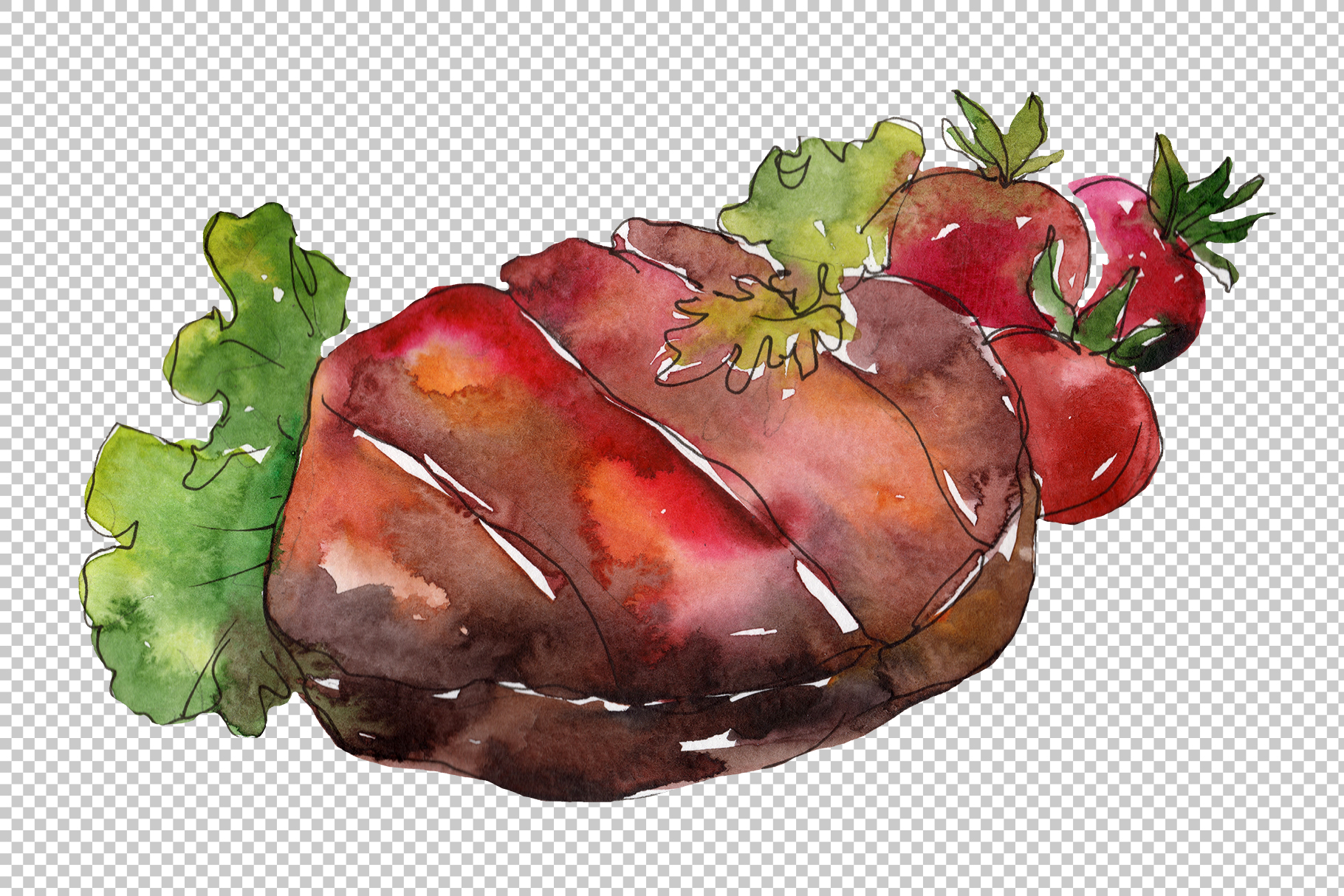 Meat steaks PNG watercolor set example image 5