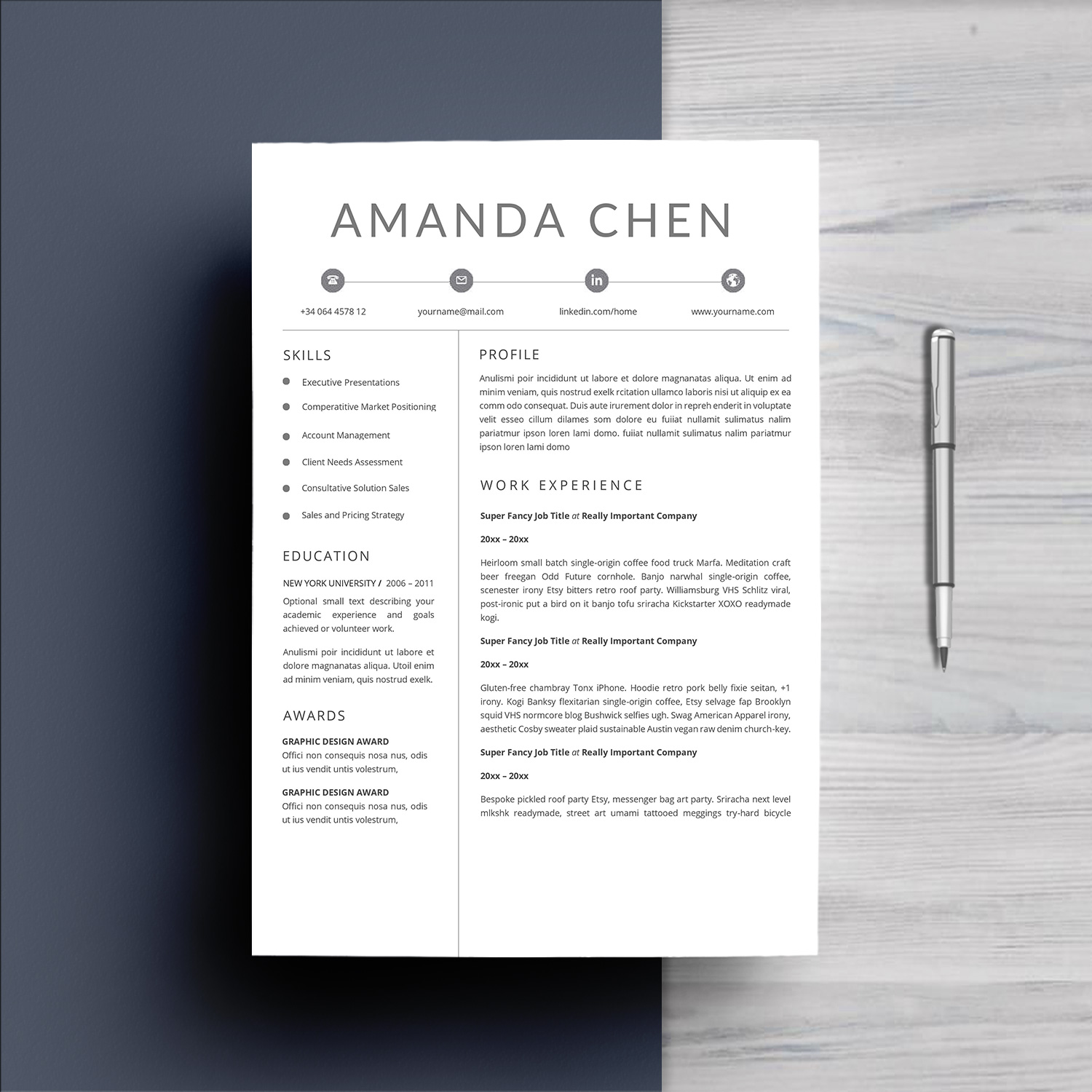 Clean Professional Resume Template Word example image 3
