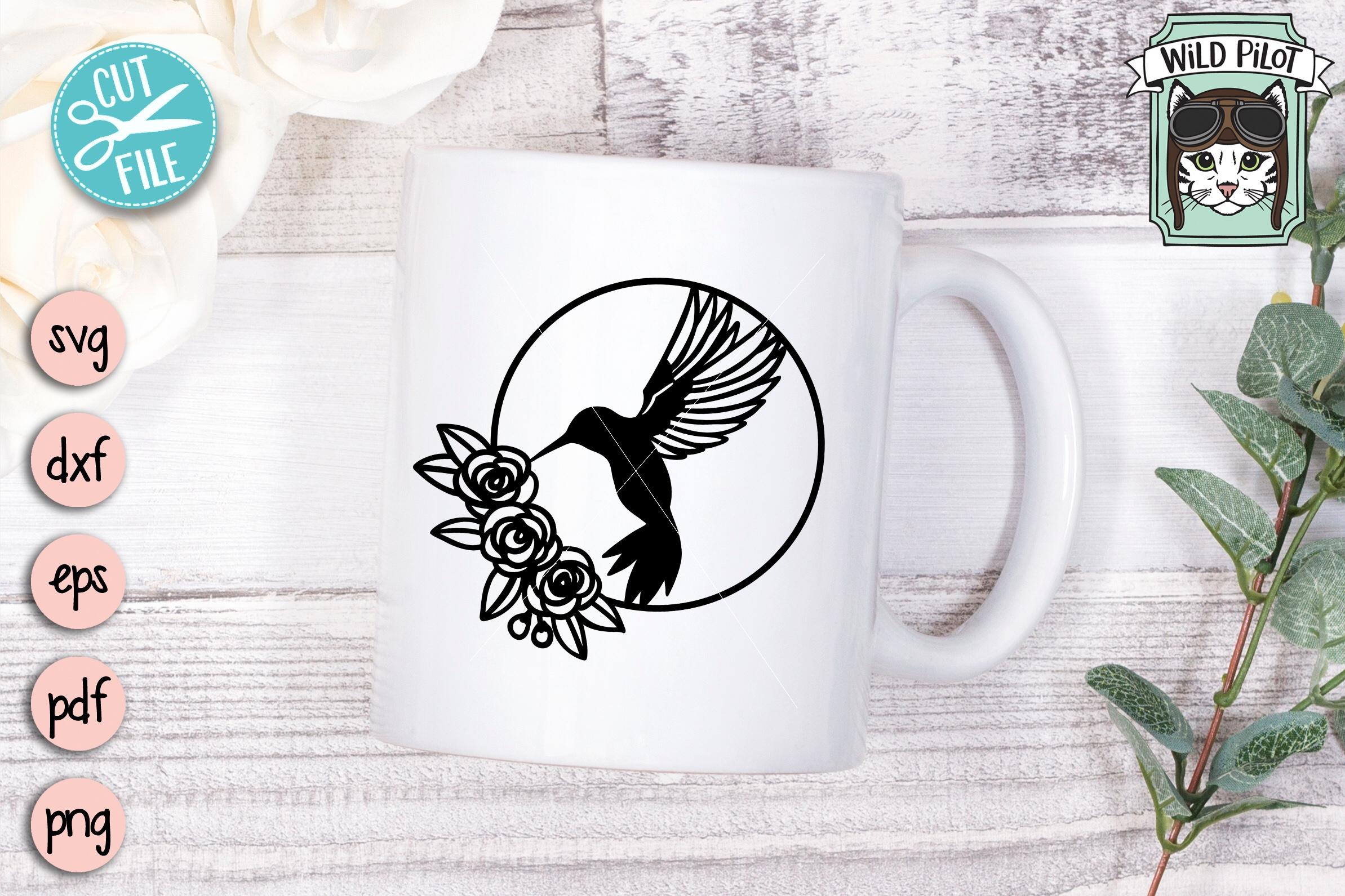 Hummingbird SVG file, Bird Cut file, Flower Bird Wreath example image 2