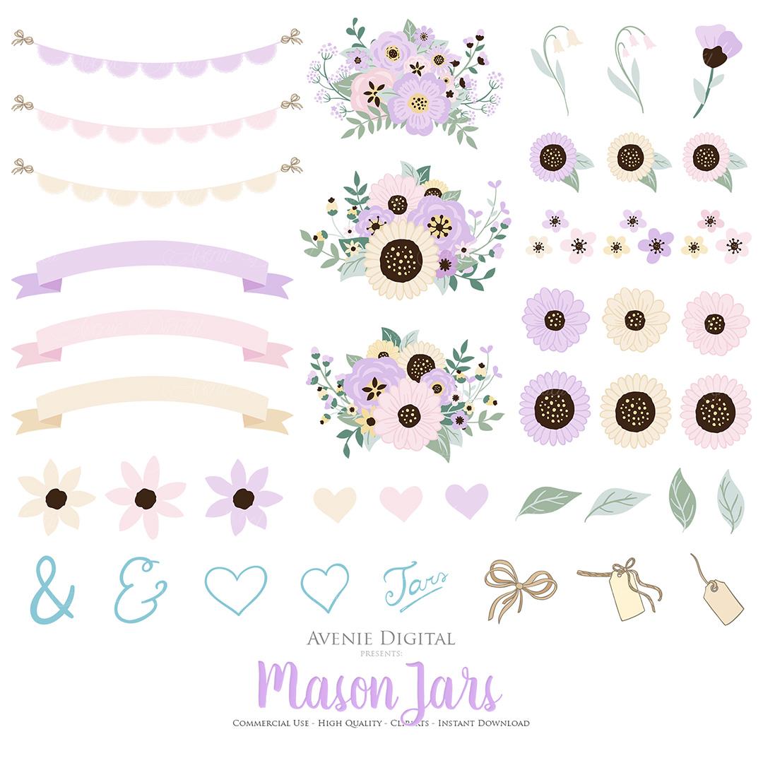 Lilac Mason Jar Floral Light Purple Wedding Clipart example image 3