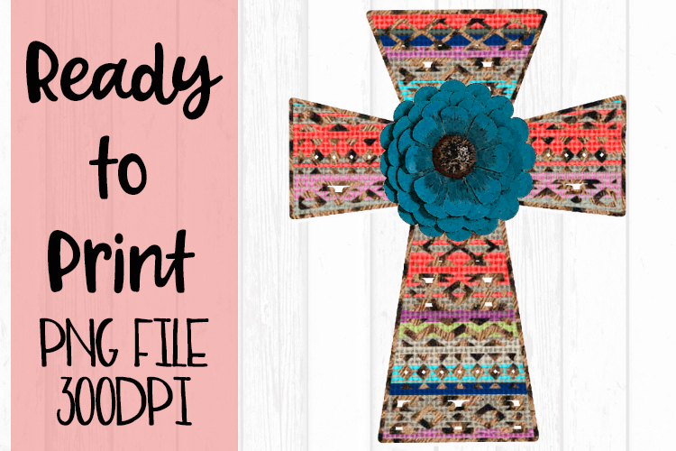 Aztec Flower Cross Ready to Print example image 1
