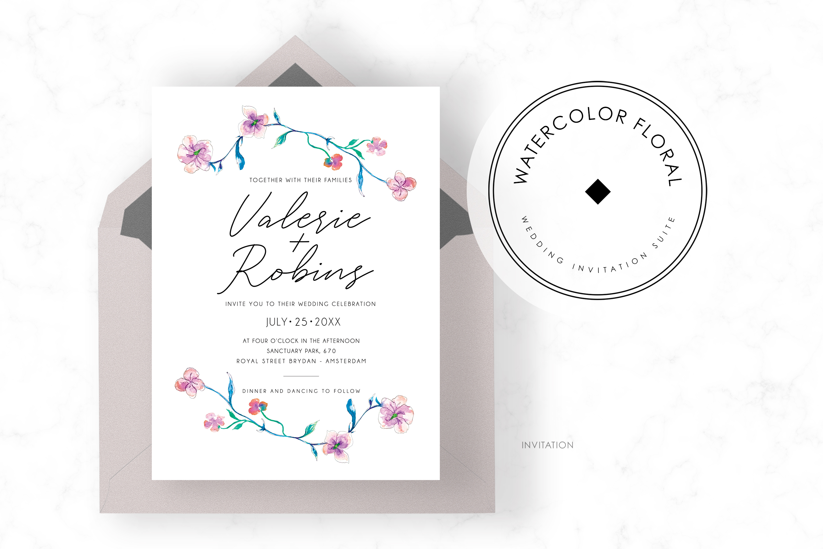 Watercolor Floral Invitation Suite example image 2