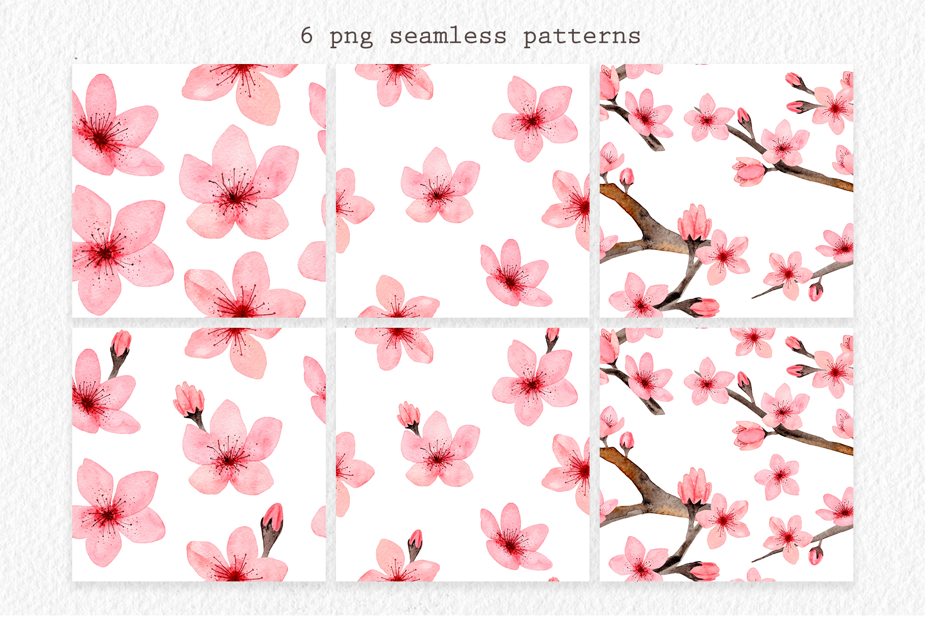 Watercolor Cherry Blossom. Patterns example image 3