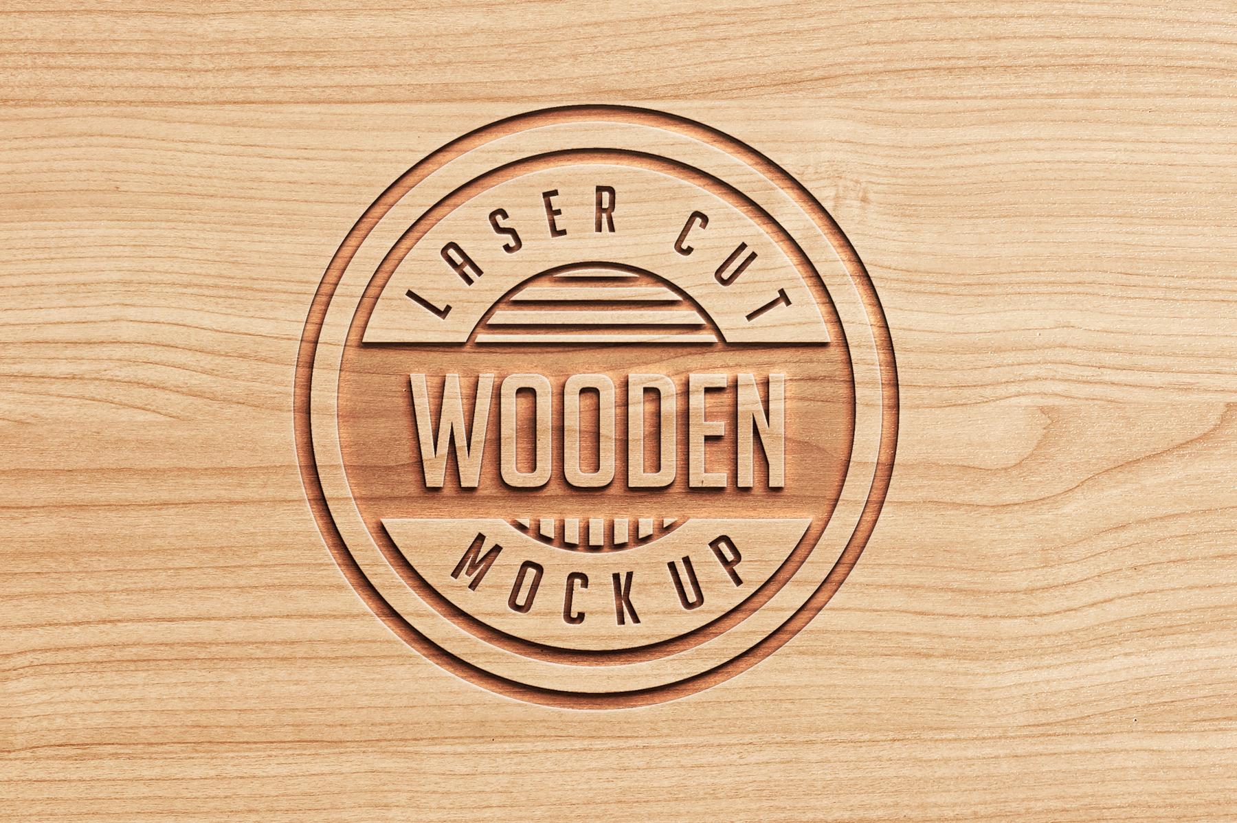 Logo Mock Ups  Wood Set example image 7
