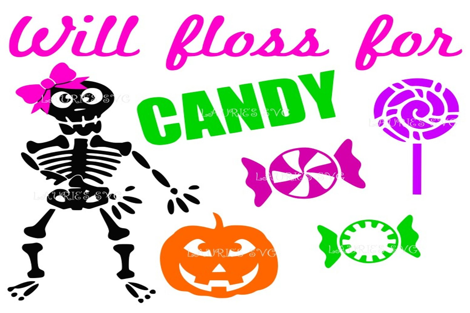 Halloween will floss for candy girl FILE SVG,EPS,DXF,PNG,JPG example image 1