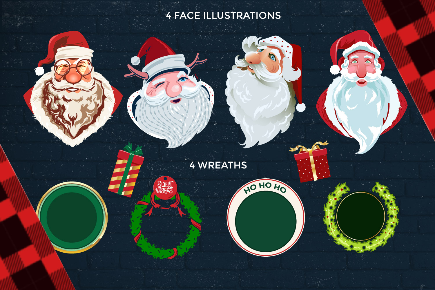 Santa Claus Face Collection Illustrations example image 2