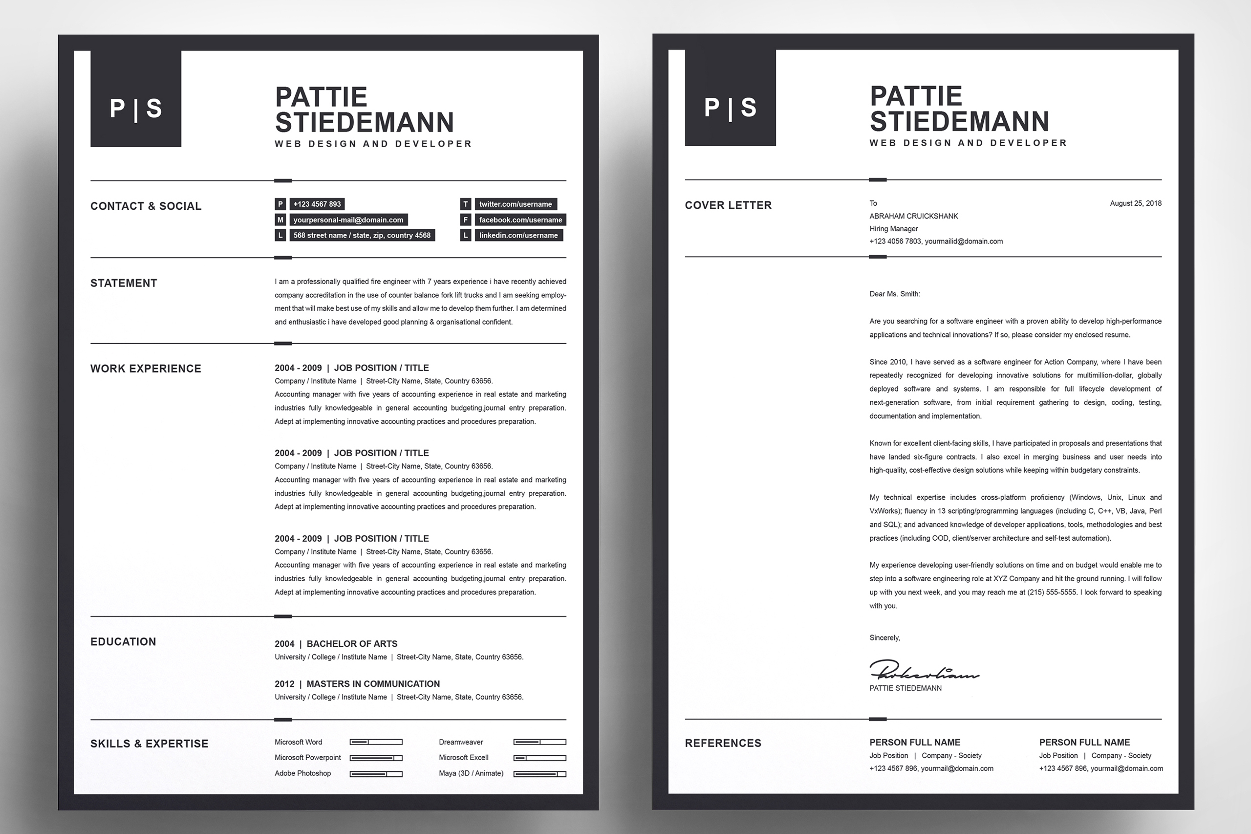 2 Pages Clean Resume Template   Simple & Basic Professional example image 3
