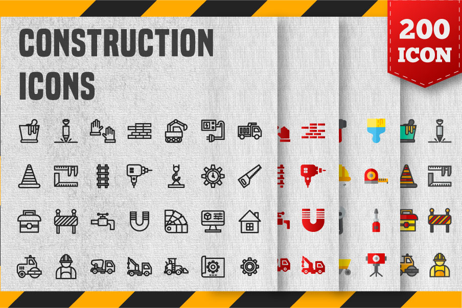 200 Construction Icon Pack example image 1
