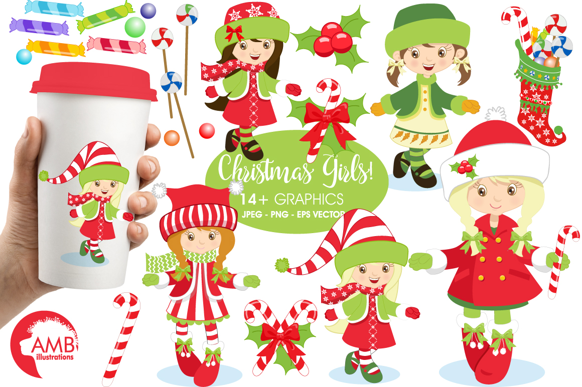 Christmas girls clipart, graphics, illustrations AMB-189 example image 1