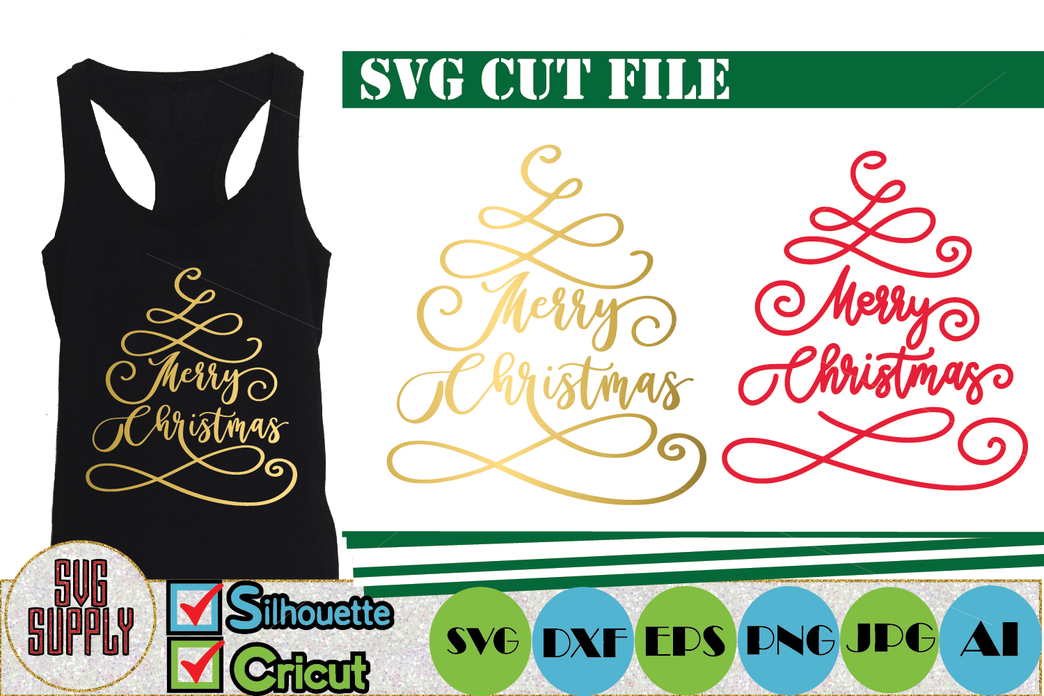 Merry Christmas Tree SVG Cut File example image 1