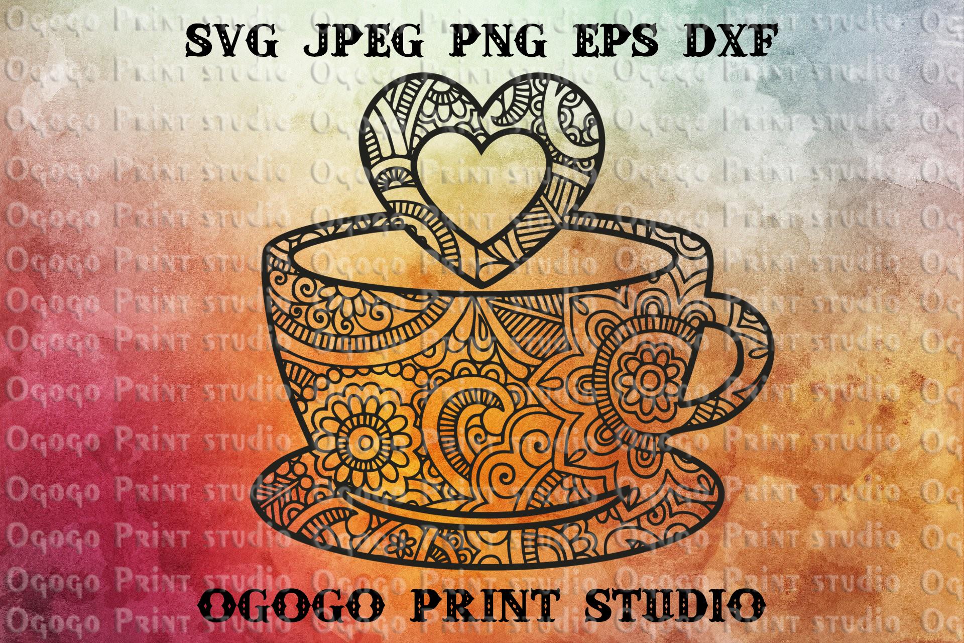 Love svg, Cup Svg, Love coffee SVG, Zentangle SVG, Mandala example image 1