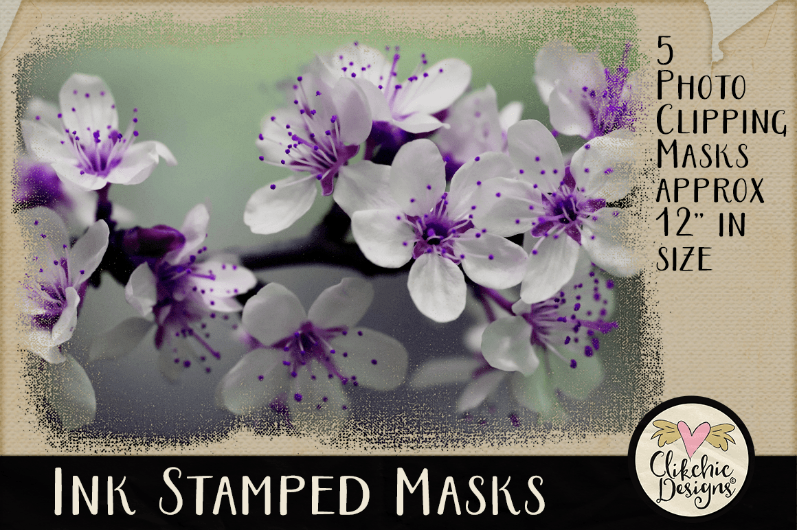 Ink Stamped Photoshop Clipping Masks & Tutorial example image 5