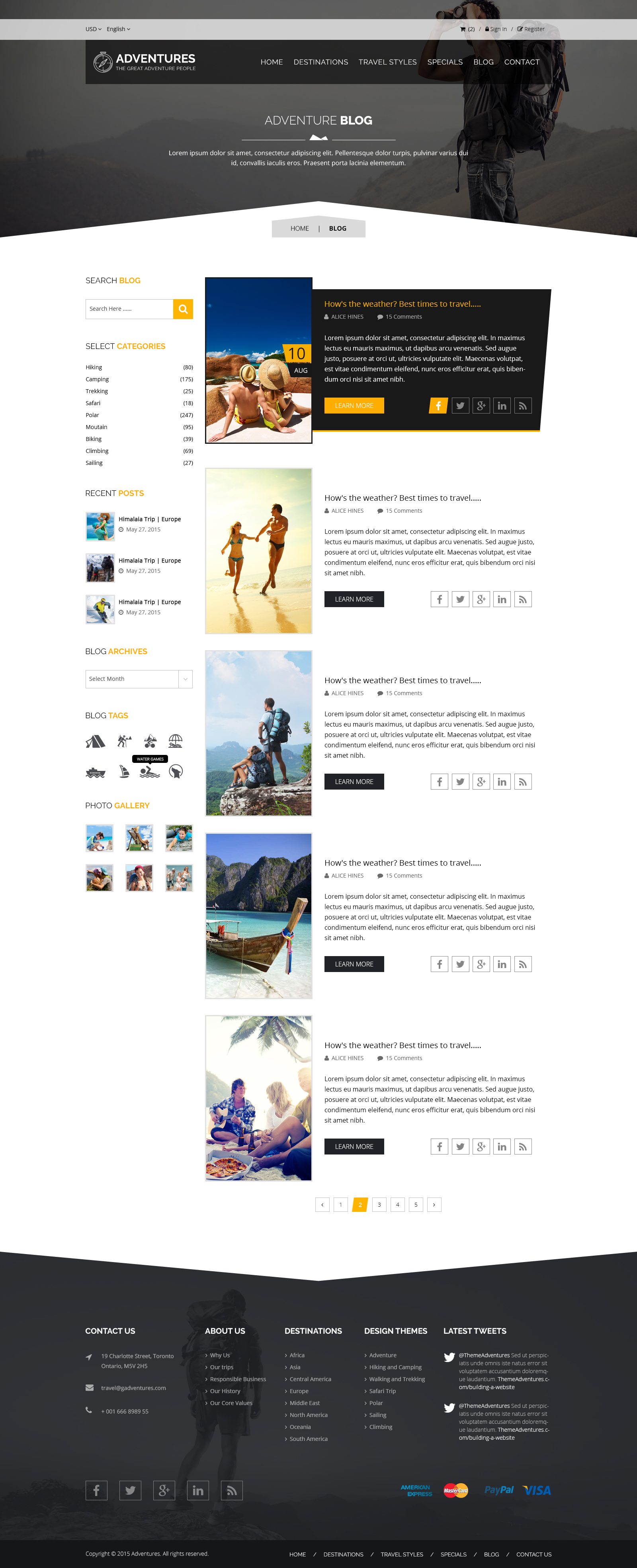 Adventures and Tour PSD Template example image 12
