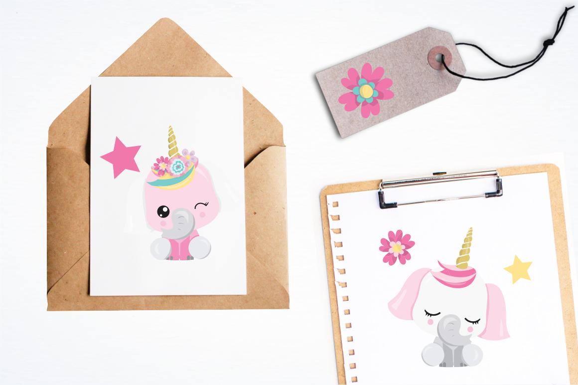Elephant Unicorn graphic and illustrations example image 4