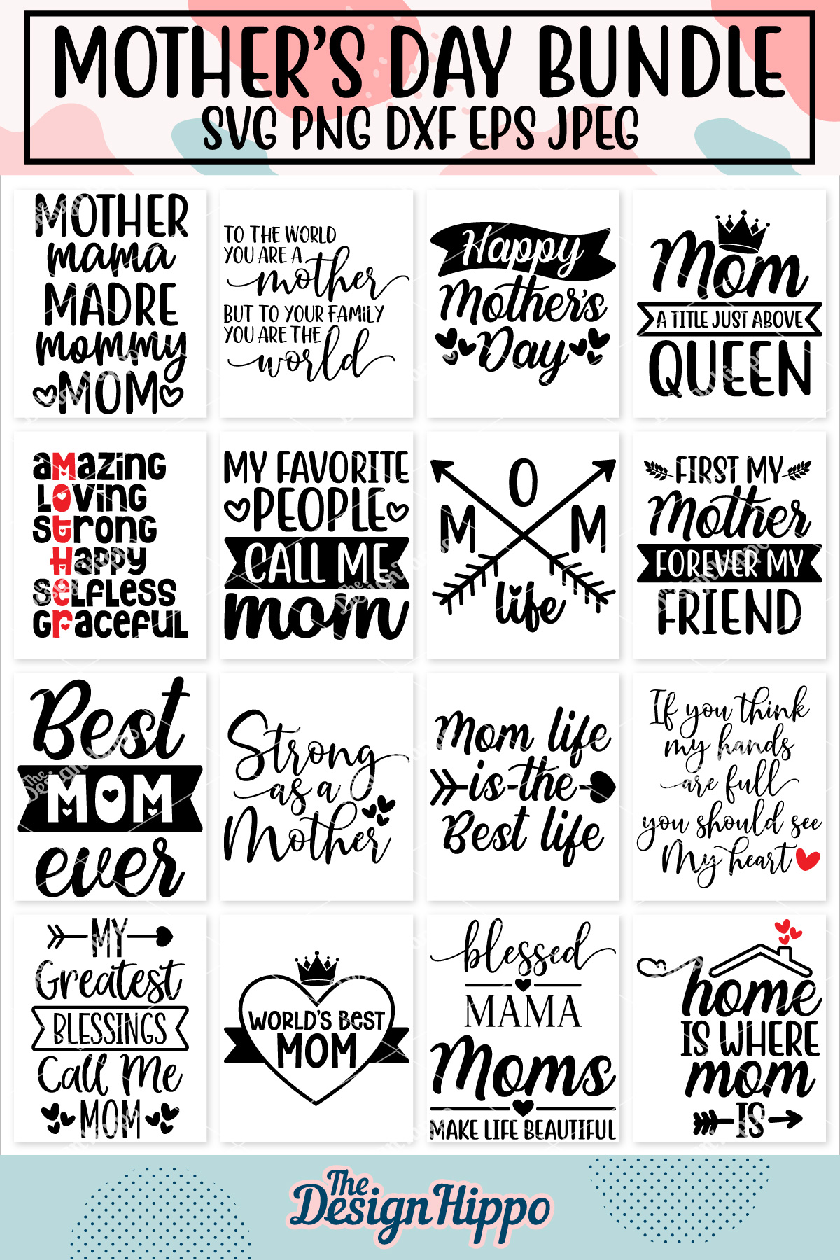 Mom Quotes SVG Bundle, 20 Designs, SVG PNG DXF Cutting Files example image 23