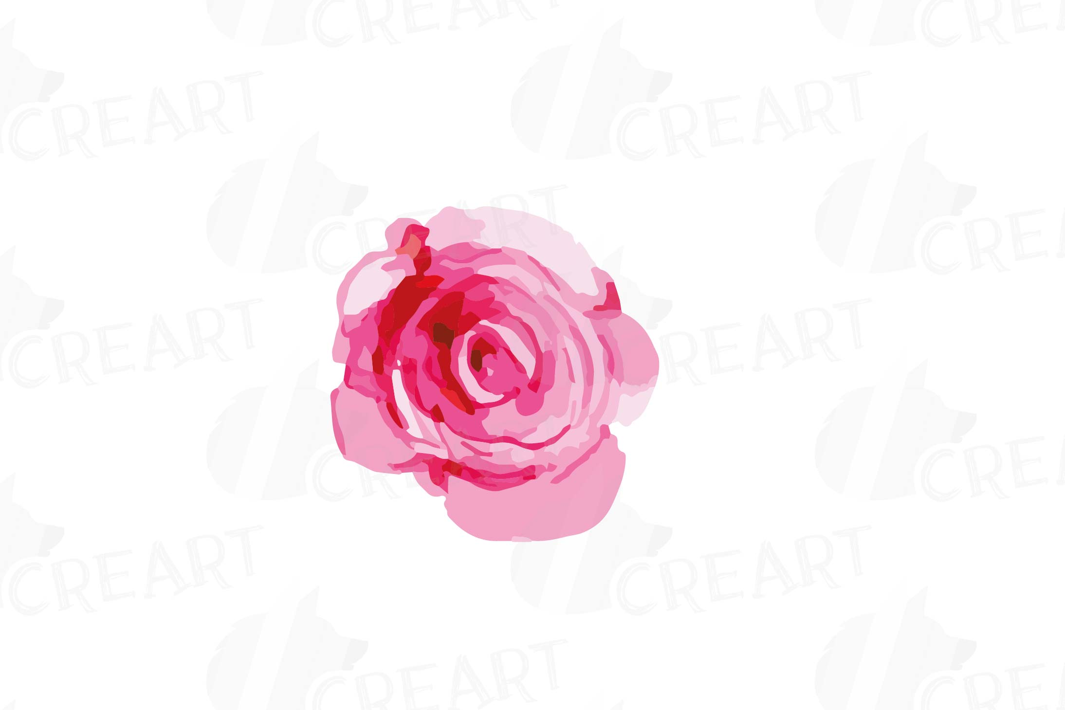 Watercolor Pink and Blue Roses and leafs clip art pack, png example image 4