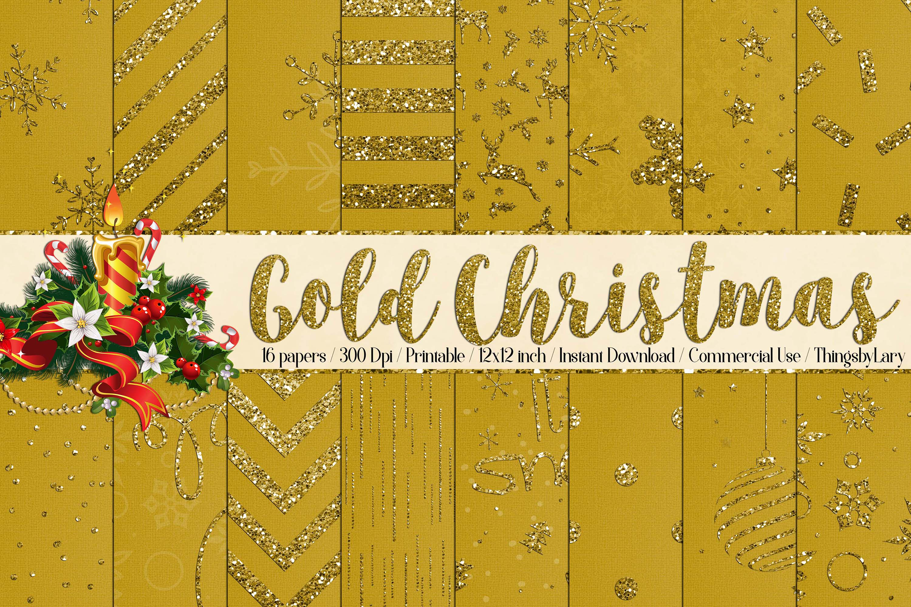 16 Gold Glitter Christmas Printable Digital Papers 12 inch example image 1
