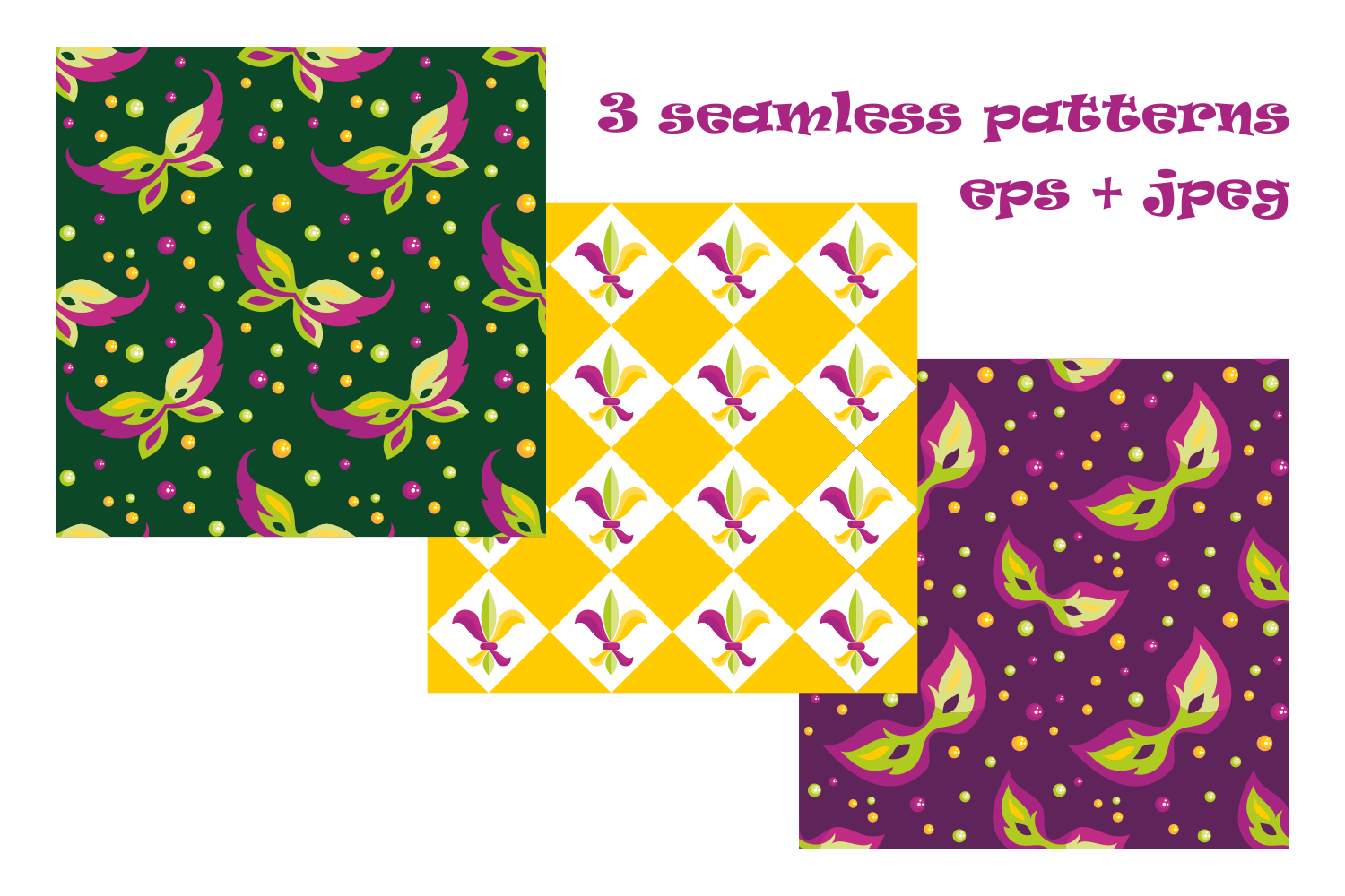 Mardi Gras mini set. Vector clip arts and seamless patterns. example image 3