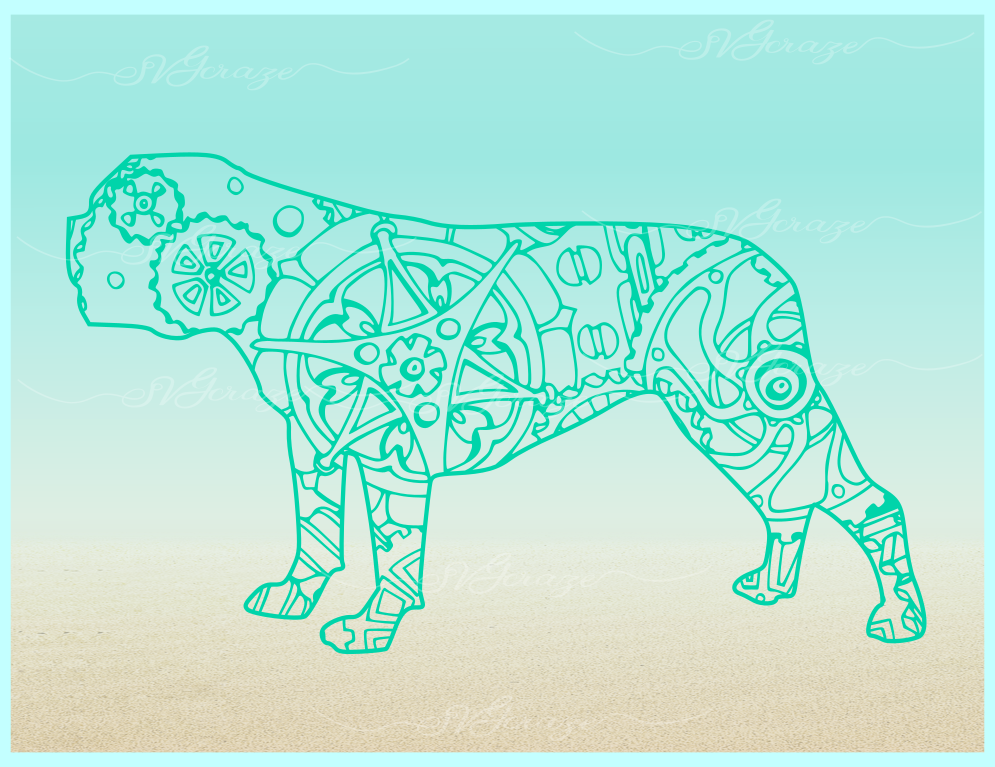 Bulldog Mandala Zentangle SVG Eps Png files for Cricut example image 6