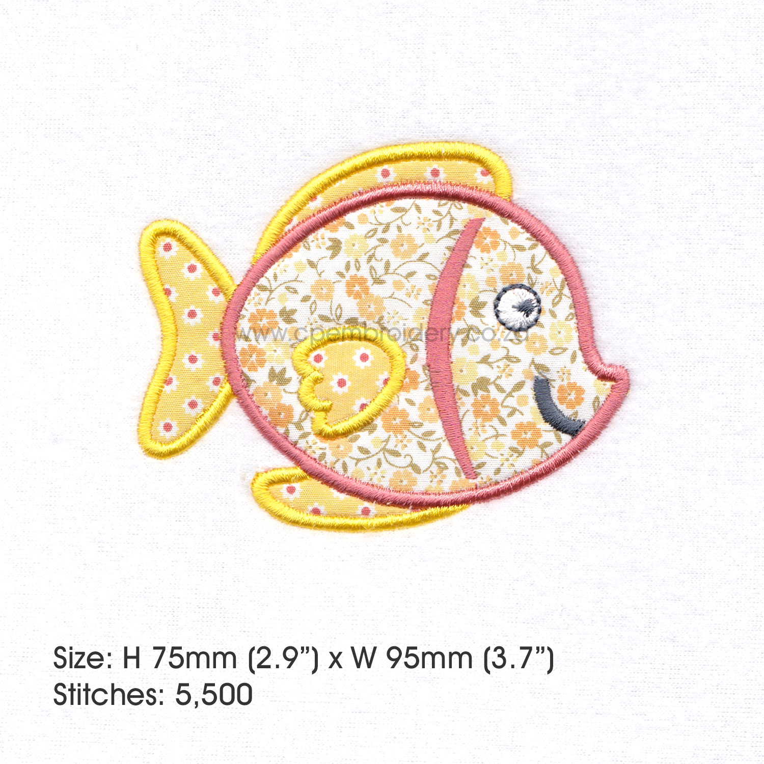Yellow Tang Pet Fish Applique Machine Embroidery Design example image 4