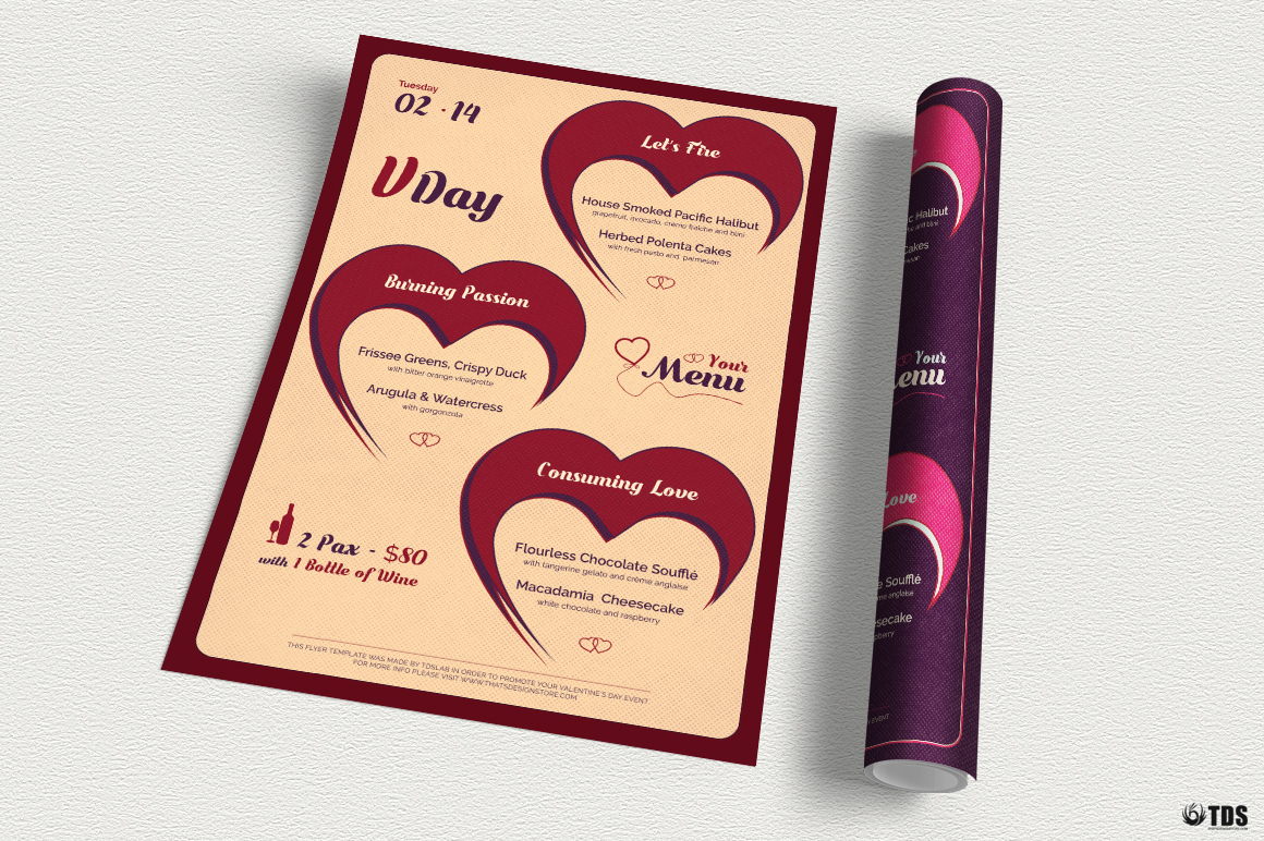 Valentines Day Menu Template V9 example image 3