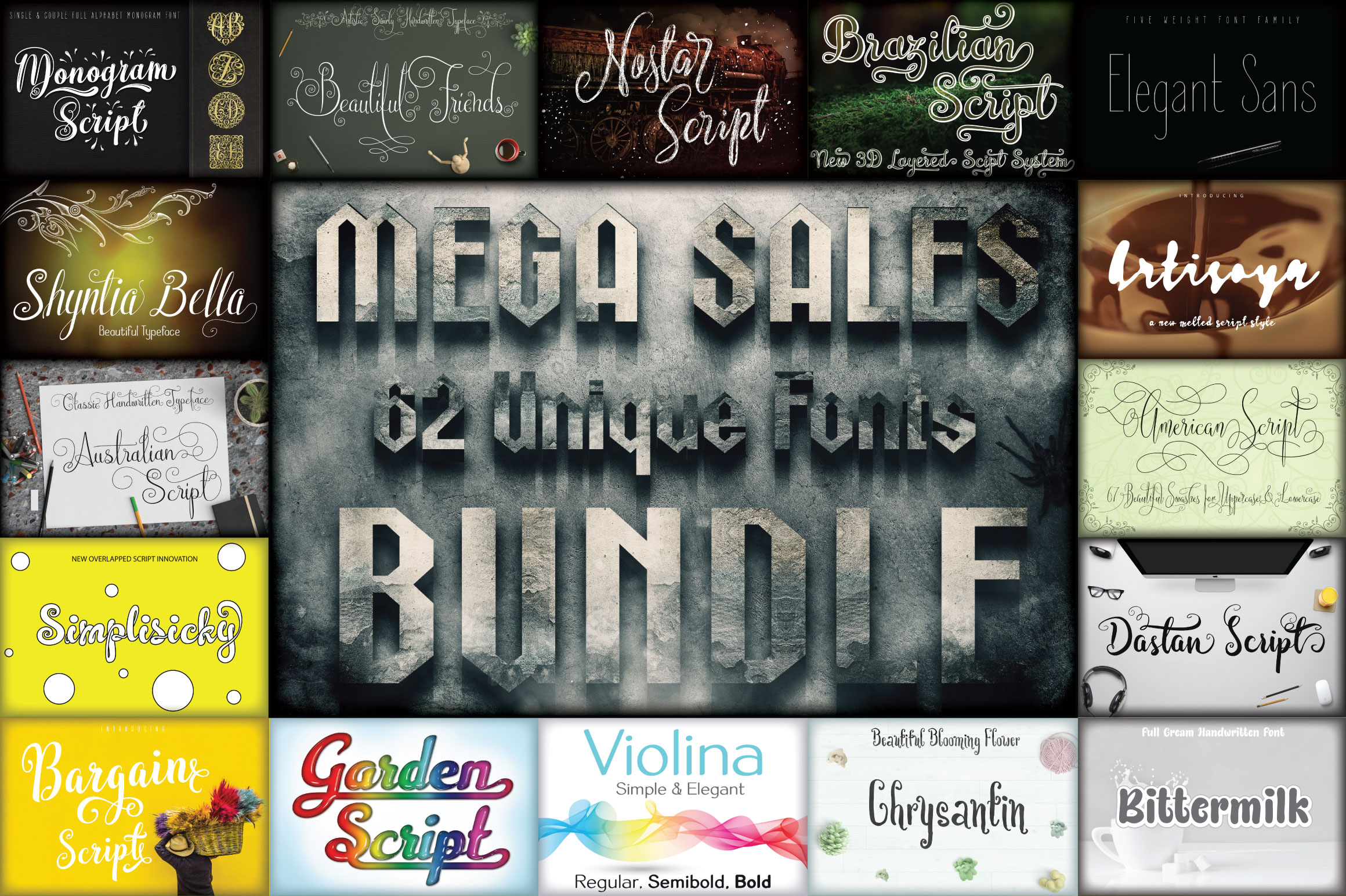 MEGA SALES 62 FONTS BUNDLE example image 1