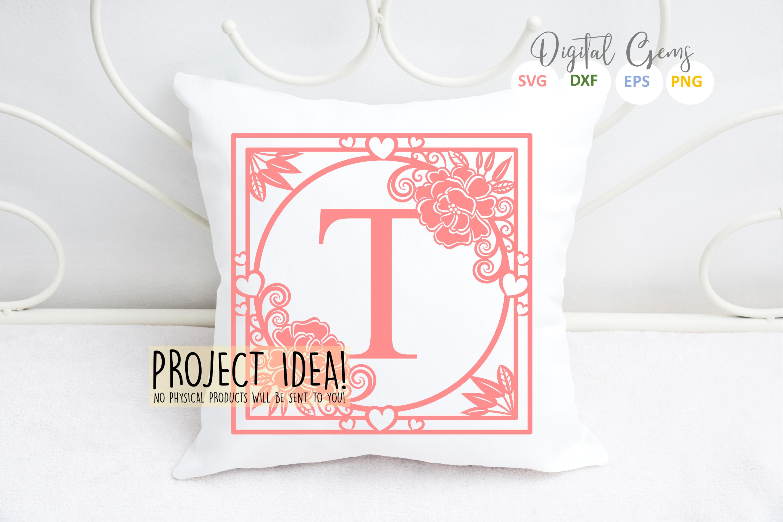 Letter T papercut design. SVG / DXF / EPS files example image 2