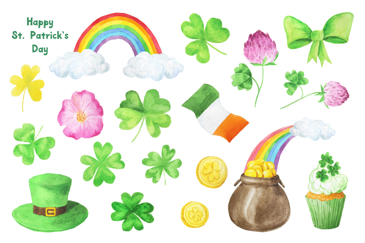 Watercolor St Patricks Day Collection example image 3