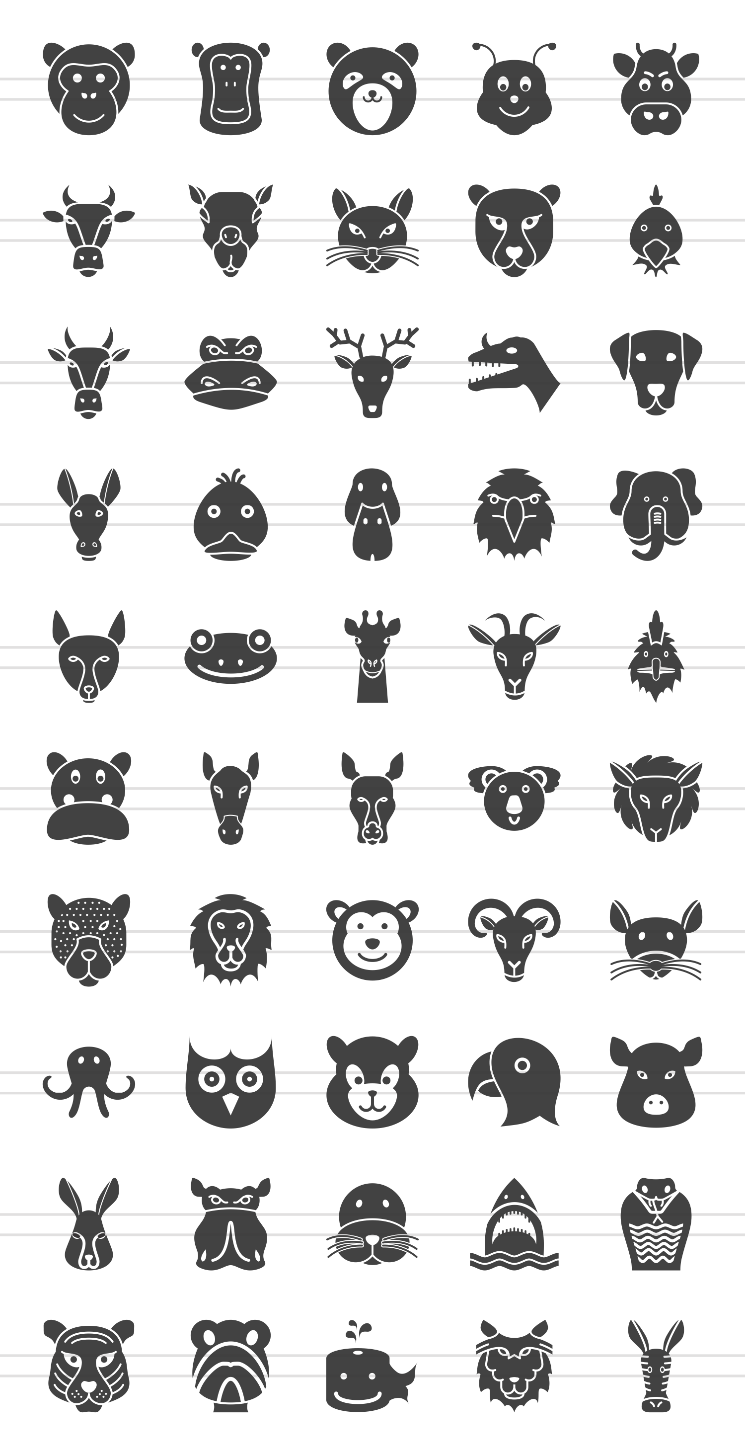 50 Animal Faces Glyph Icons example image 2