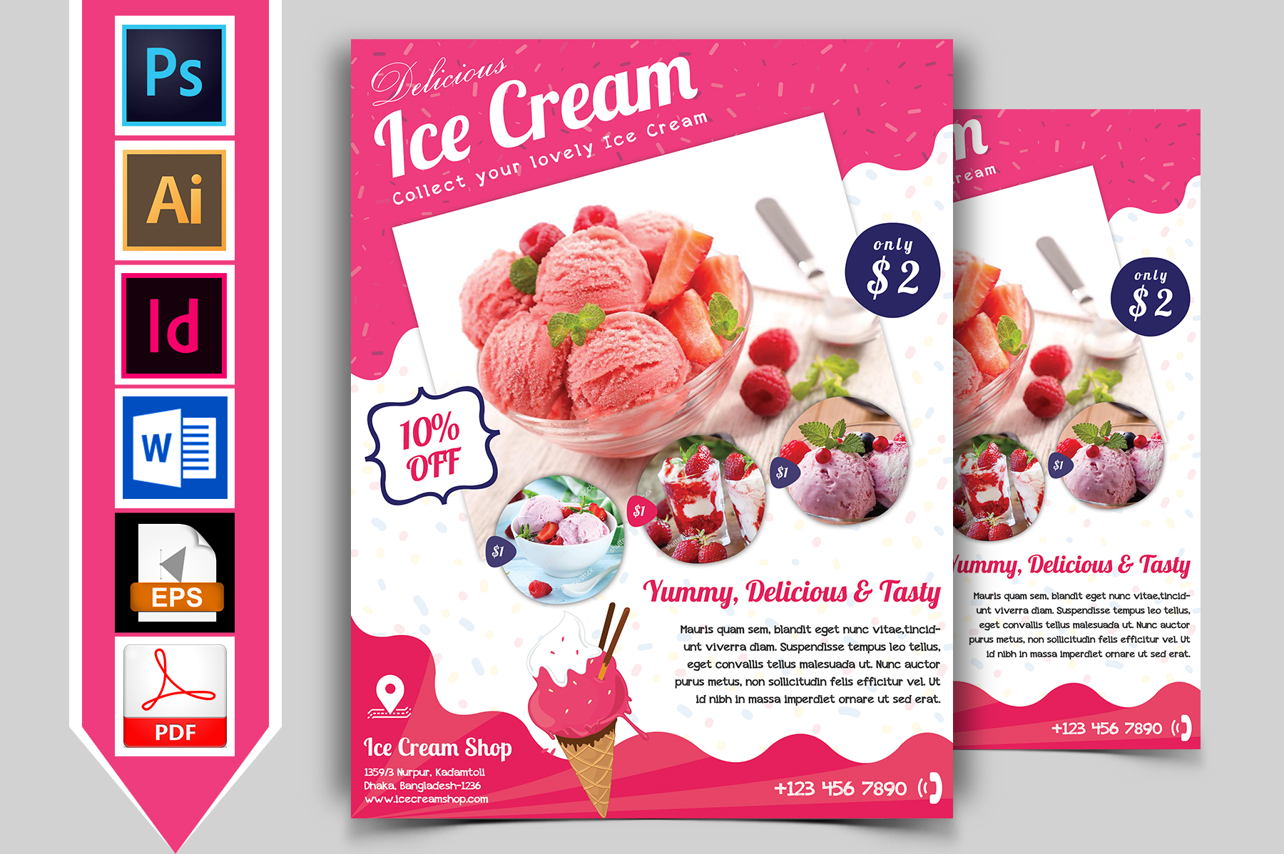 Ice Cream Shop Flyer Template Vol-01 example image 1