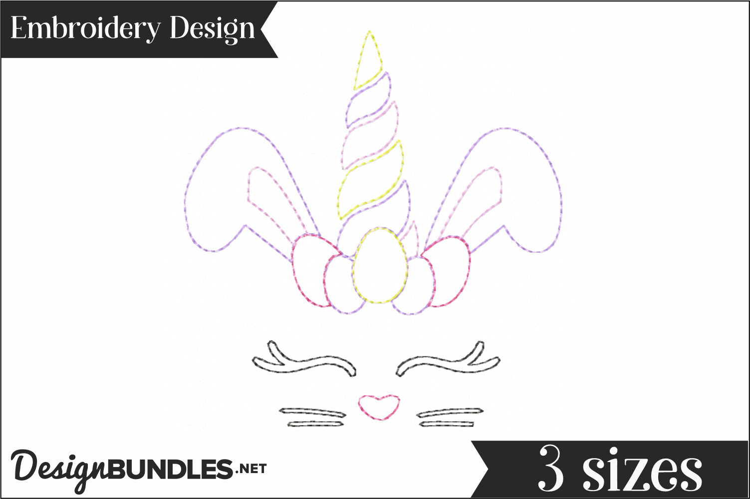 Bunny Unicorn Redwork Embroidery Design example image 1
