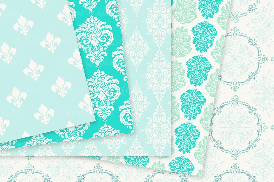 28 Mint Damask Patterns - Wedding Seamless Digital Papers Bundle example image 7