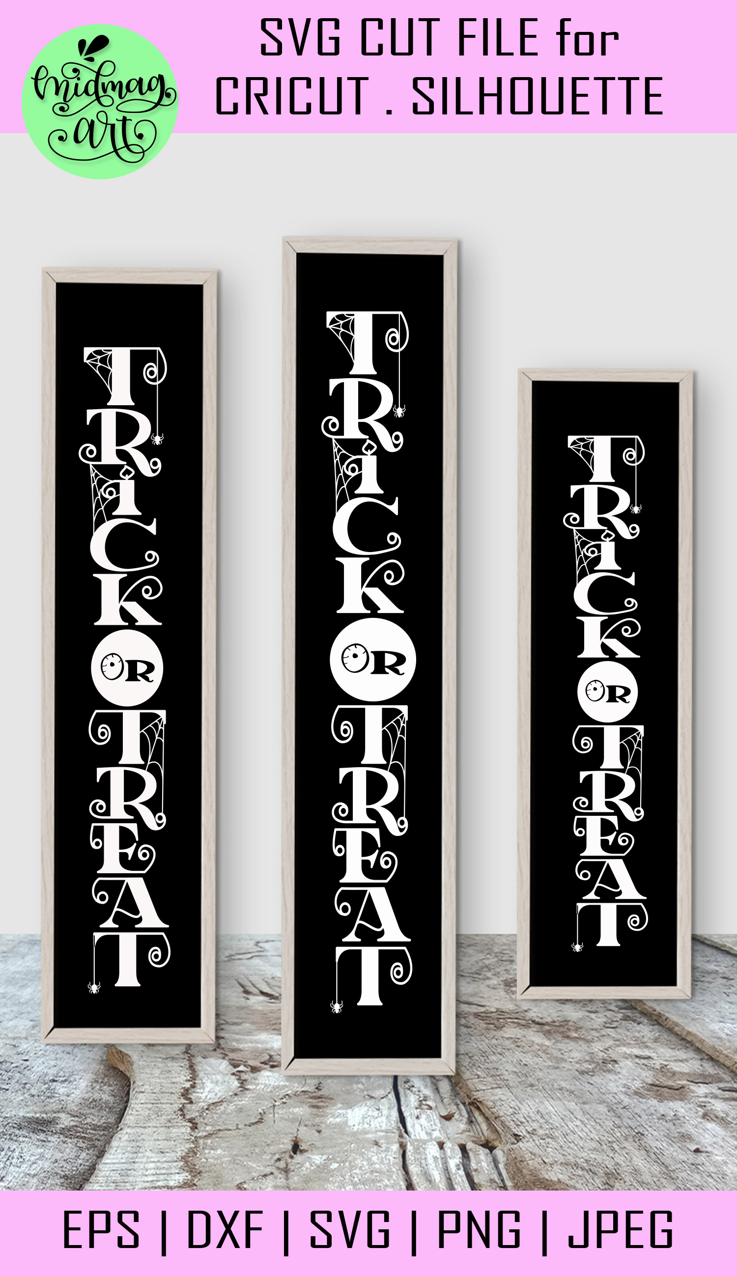 Trick or treat svg, halloween wood sign svg example image 2