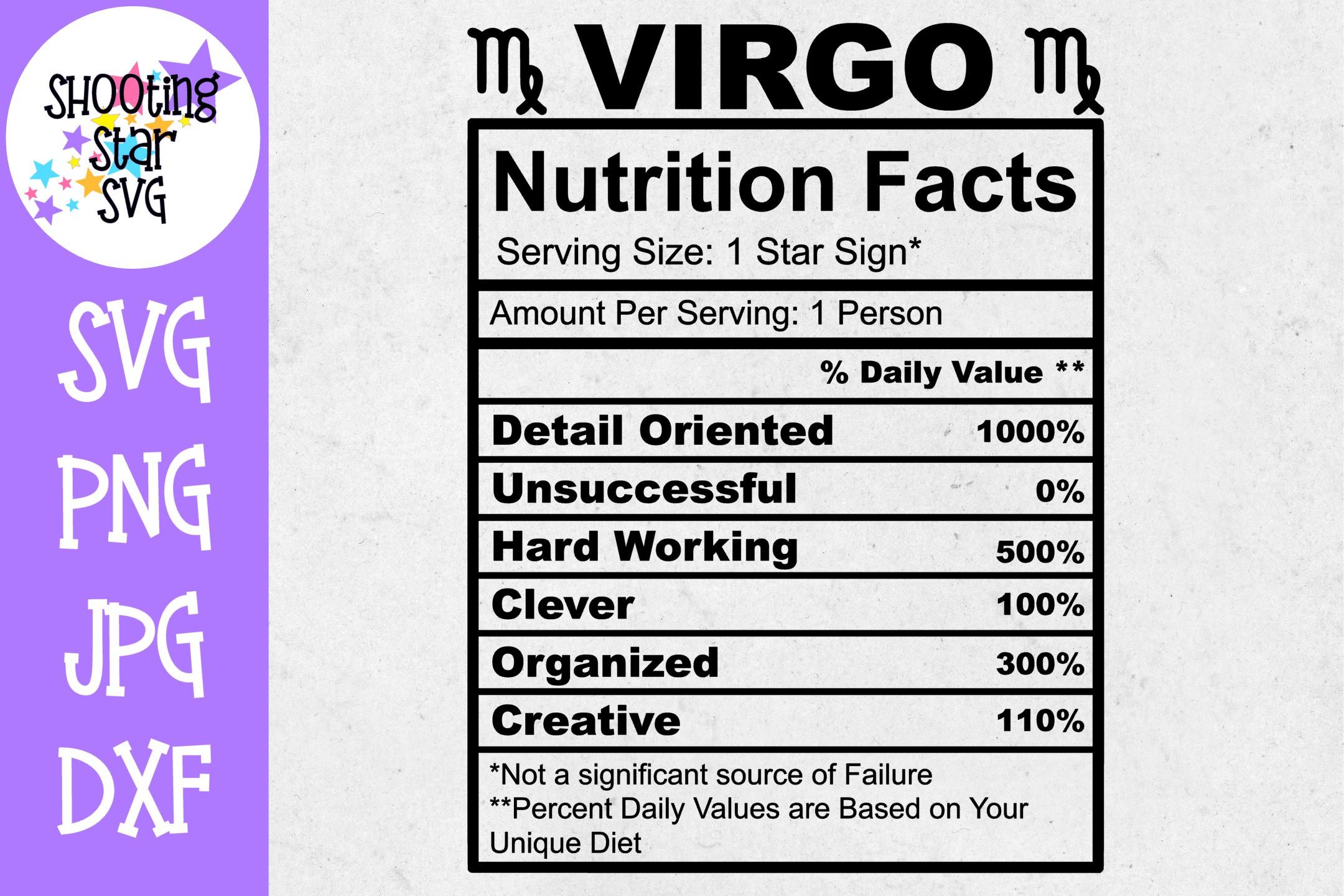 Virgo Zodiac Sign Nutrition Facts SVG - Virgo SVG example image 1