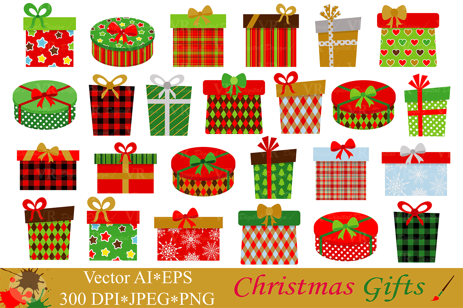 Christmas Gifts / Presents Clipart - Vector example image 1
