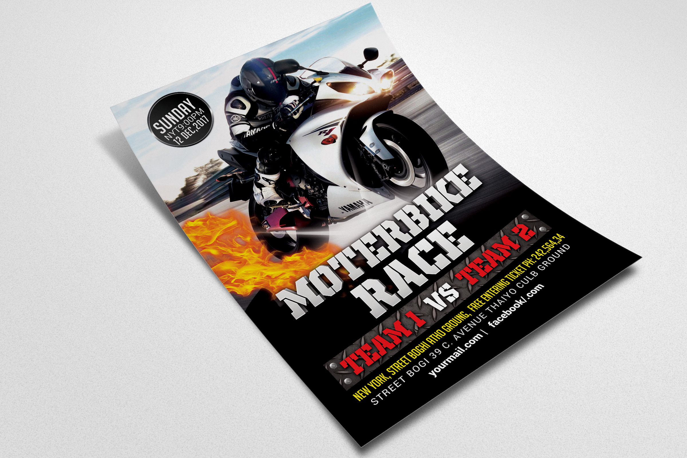Bike Racing Flyer Template  example image 2