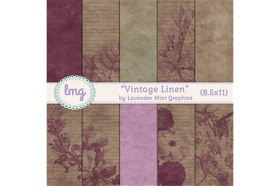 Vintage Linen Journal Papers example image 2