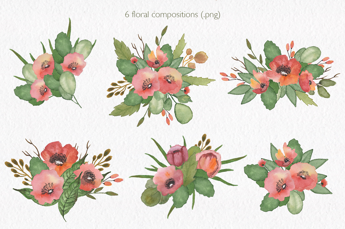 Spring florals. Watercolor floral collection. example image 2