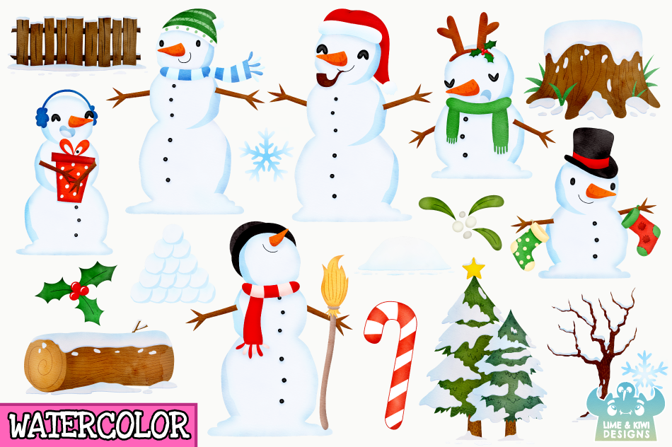 Christmas Snowmen Watercolor Clipart, Instant Download example image 2